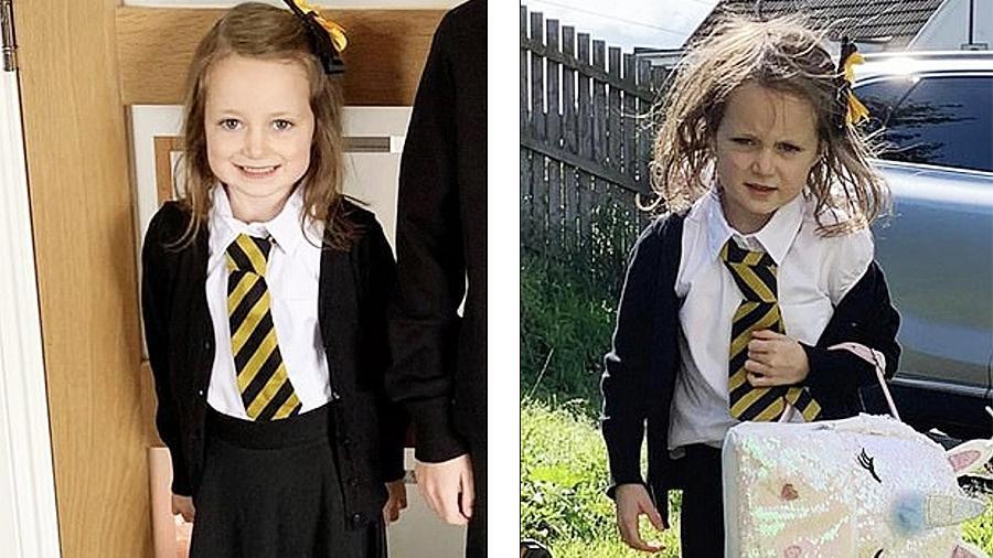 Фото первоклашки до и после похода в школу стали хитом в Сети