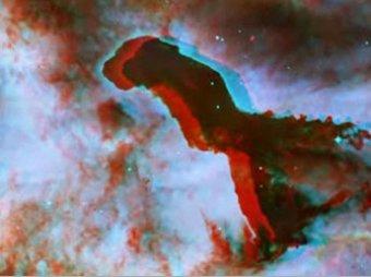 Пролет через космическую туманность сняли в 3D