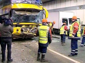 В Москве в тоннеле столкнулись 4 автобуса: есть пострадавшие
