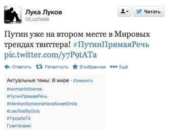 Вопросы Путину вышли в мировые тренды Twitter