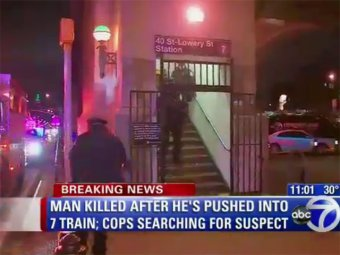 В Нью-Йорке сумасшедшая женщина в метро столкнула пассажира под поезд