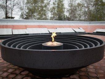 В Приморье школьницы погасили Вечный огонь снежками