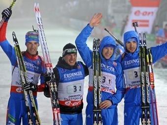 Сборная России выиграла мужскую эстафету по биатлону