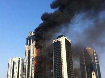 В Грозном сгорел самый высокий небоскреб Чечни