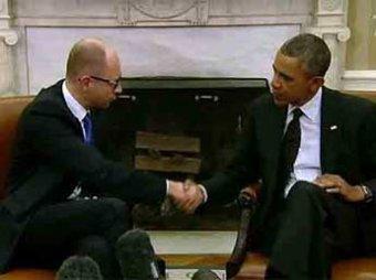 Обама встретился с украинским премьером Яценюком и пригрозил России санкциями