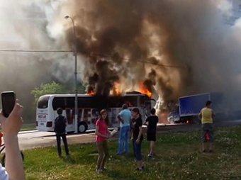 На юге Москвы сгорели два автобуса