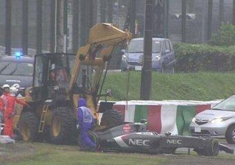 Жюль Бьянки разбился в аварии на Гран-при Японии 05.10.2014 (видео)