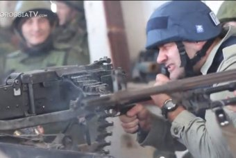 Пореченков в Донецком аэропорту пострелял из пулемета (ВИДЕО)