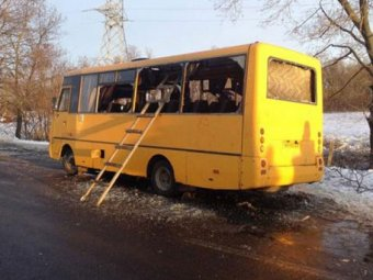 Видео обстрела автобуса под Волновахой появилось в Сети: новости Новороссии 16 января 2015 (видео)