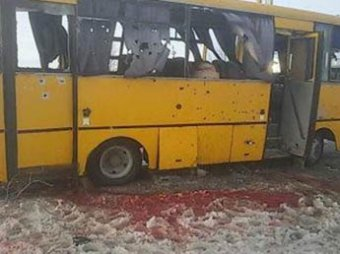 Новости Новороссии 13 января 2015: в Донецке в рейсовый автобус попал снаряд, погибли 10 пассажиров