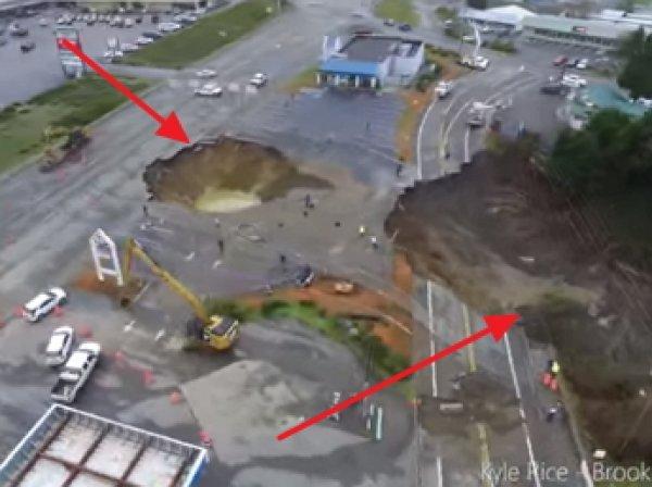 Беспилотник заснял гигантский обвал посреди дороги в штате Орегон