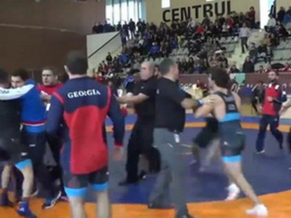 На Youtube опубликовано ВИДЕО массовой драки российских и грузинских борцов на Кубке наций