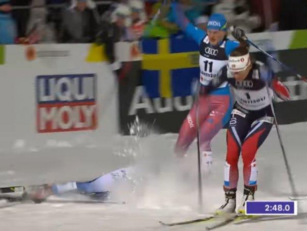 Шведская лыжница Нильссон в полуфинале ЧМ сбила россиянку и не стала жать ей руку (ВИДЕО)