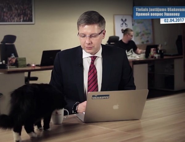 YouTube ВИДЕО: обращение мэра Риги с горожанами прервал наглый кот