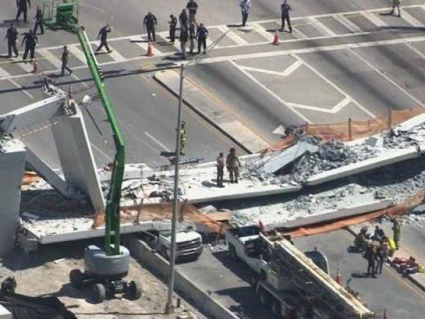 YouTube видео момента обрушения пешеходного моста в Майями появилось в Сети