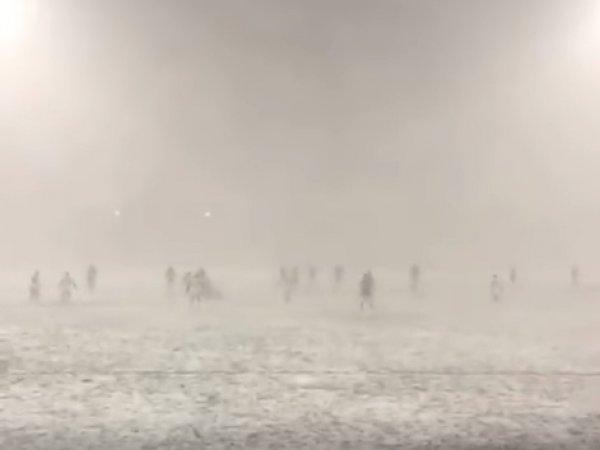 Опубликовано YouTube видео матча по регби в страшную метель