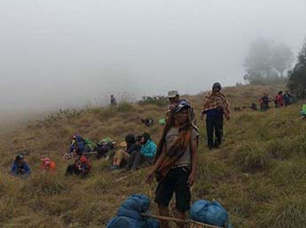 В Индонезии 800 туристов-альпинистов оказались заблокированы на горе из-за оползней