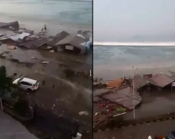 Смертельное цунами в Индонезии попало на видео: 384 погибших