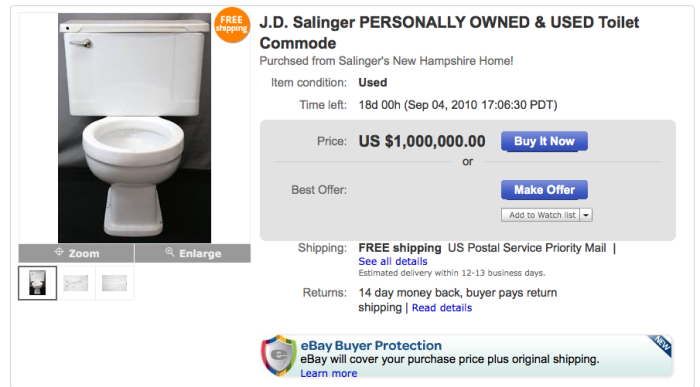 Самые необычные вещи знаменитостей проданные на аукционе eBay