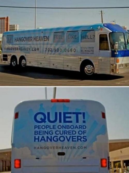 Автобус для людей, страдающих от похмелья Запрыгивайте в «похмельный» автобус после дикой ночки в Лас-Вегасе, на борту которого вам будут предоставлены самые разные удобства. Например, капельница и различные лекарства от тошноты. С перепоя звучит неплохо, хоть и стоит недешево.