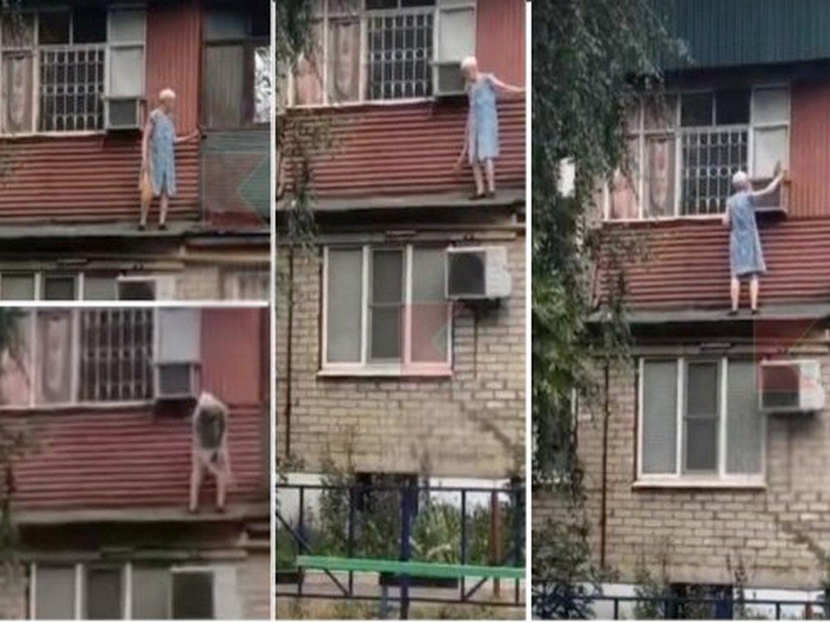 Старушка стала интернет-звездой, занявшись уборкой на карнизе балкона