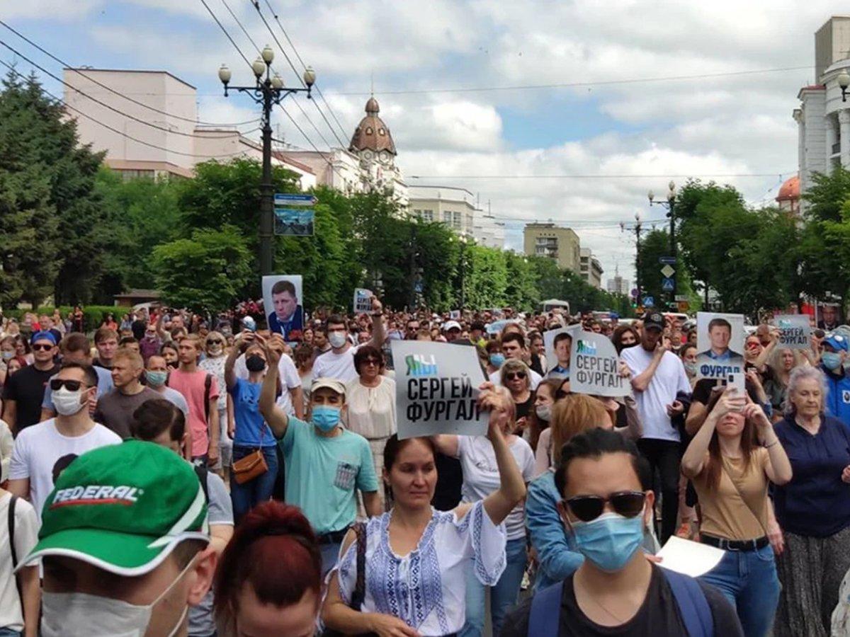 Митинг в поддержку арестованного губернатора Фургала в Хабаровске