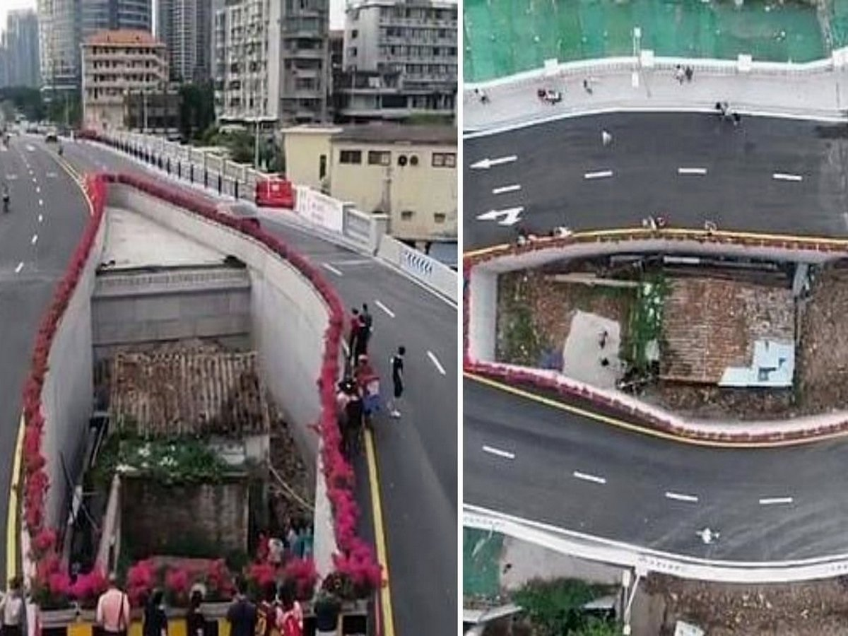 В Китае власти наказали женщину, построив магистраль вокруг ее дома