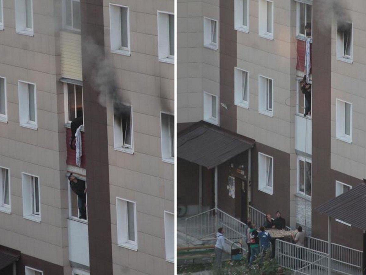 На пожаре в Новосибирске мать выбросила детей из окна