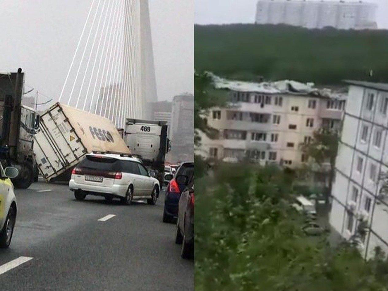 Супертайфун «Майсак» в Приморье срывал крыши, деревья и убил человека