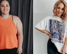 Девушка похудела в два раза,