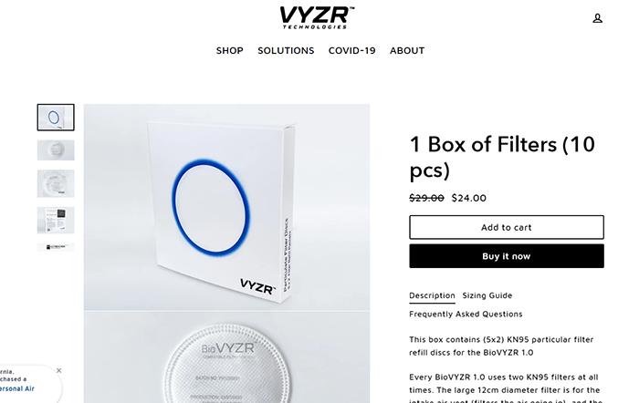 Фильтры для скафандра BioVYZR