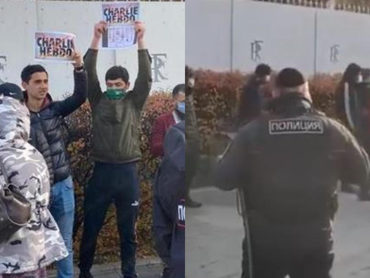 Десятки москвичей собрались у посольства Франции с криками «Аллах акбар»