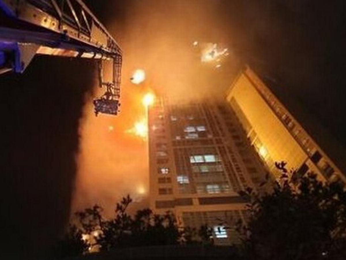 пожар в небоскребе в Южной Корее