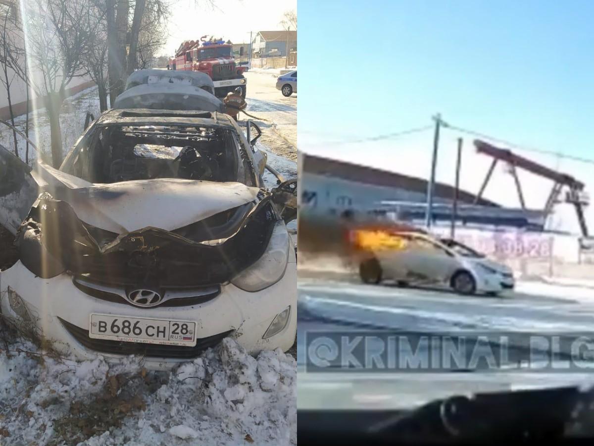 Благовещенка залила бензин в салон и взорвалась в автомобиле