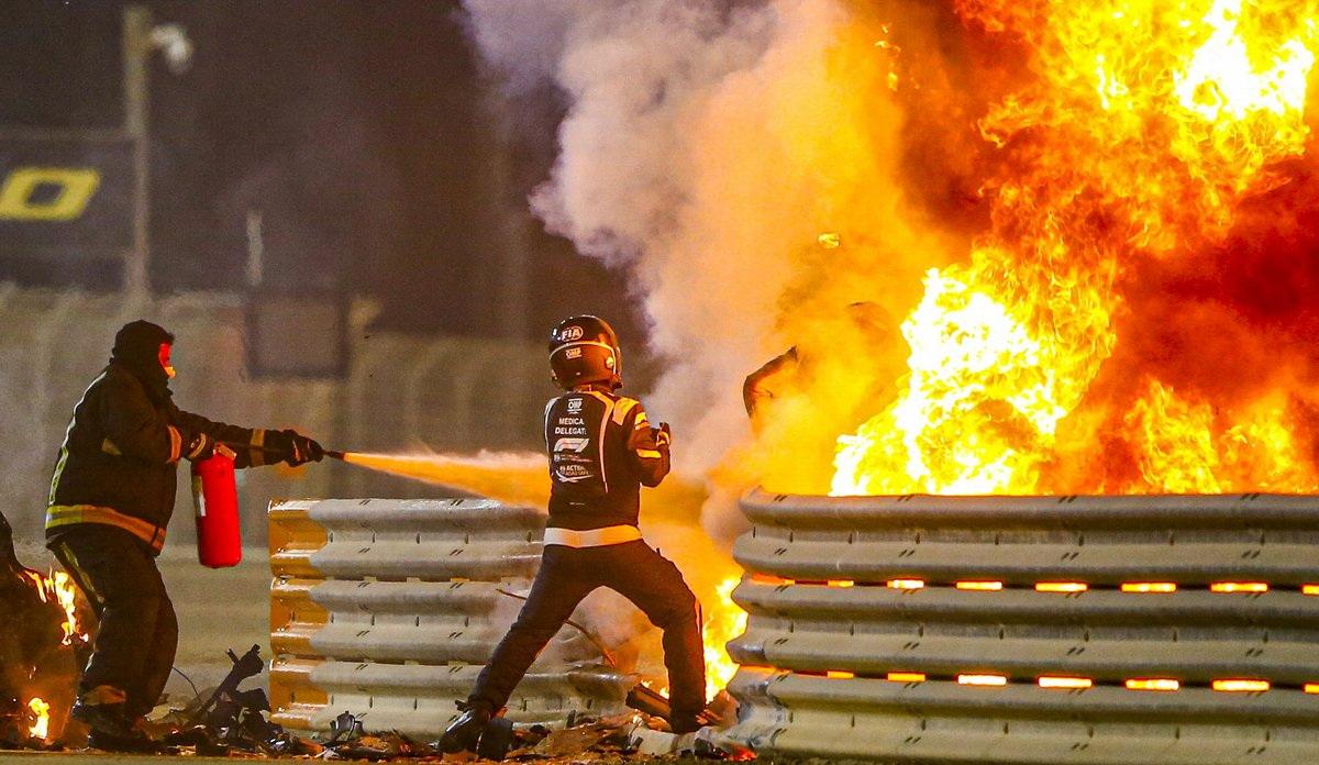 Ромен Грожан спасается из пожара