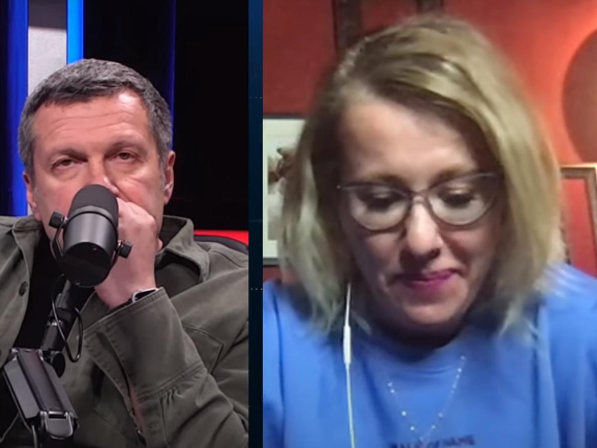Собчак поругалась с Соловьевым из-за Навального