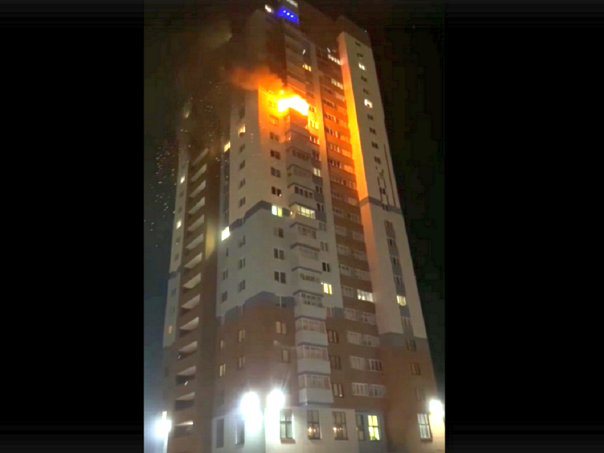 Пожар в самом высоком доме в Дзержинске