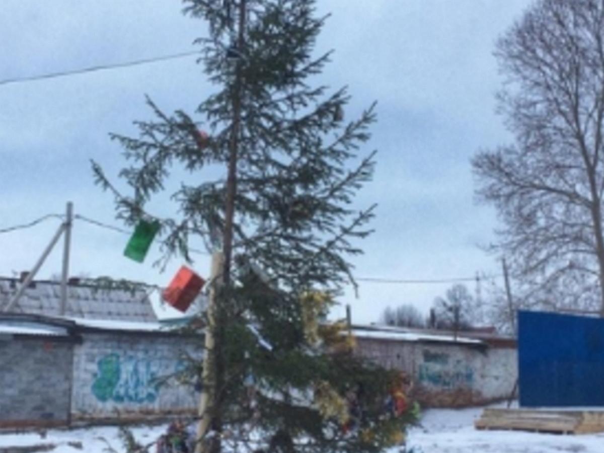 Елка-калека от мэрии в Алапаевске стала печально известна на всю страну