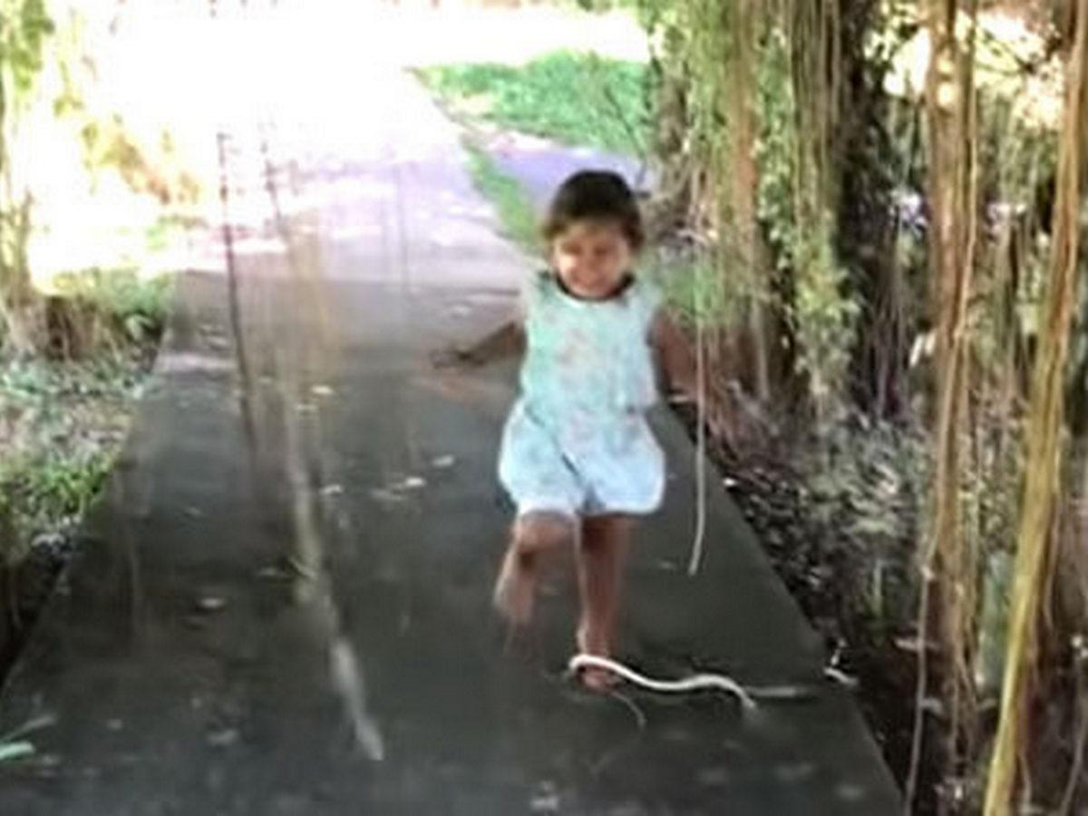 Маленькая девочка прославилась в Сети, не заметив нападения змеи