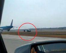 Водитель случайно вырулил на взлетную полосу навстречу севшему лайнеру
