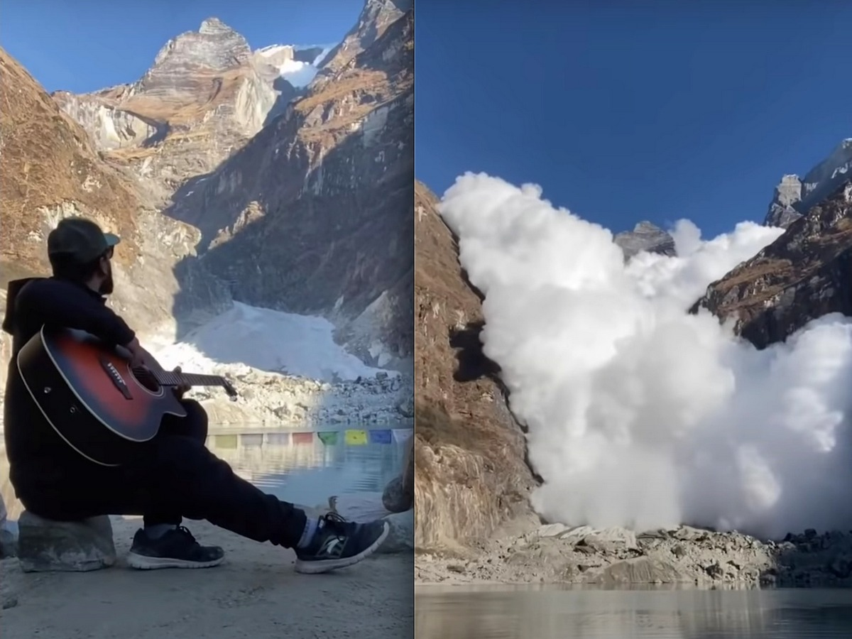 Туристы сняли на видео мощную снежную лавину в горах Непала