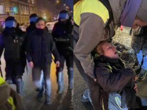 В Петербурге на акции протеста полицейский пнул в живот пожилую женщину