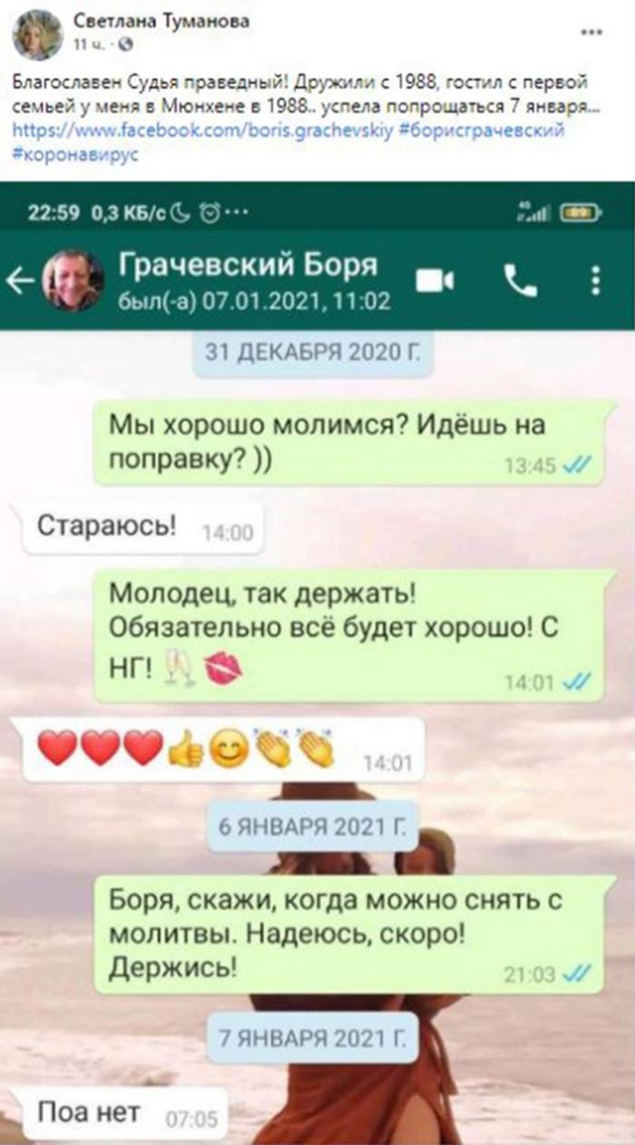 Светлана Туманова опубликовала последнюю переписку с Борисом Грачевским