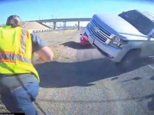 Водитель чудом остался жив, увернувшись от летящего на него внедорожника