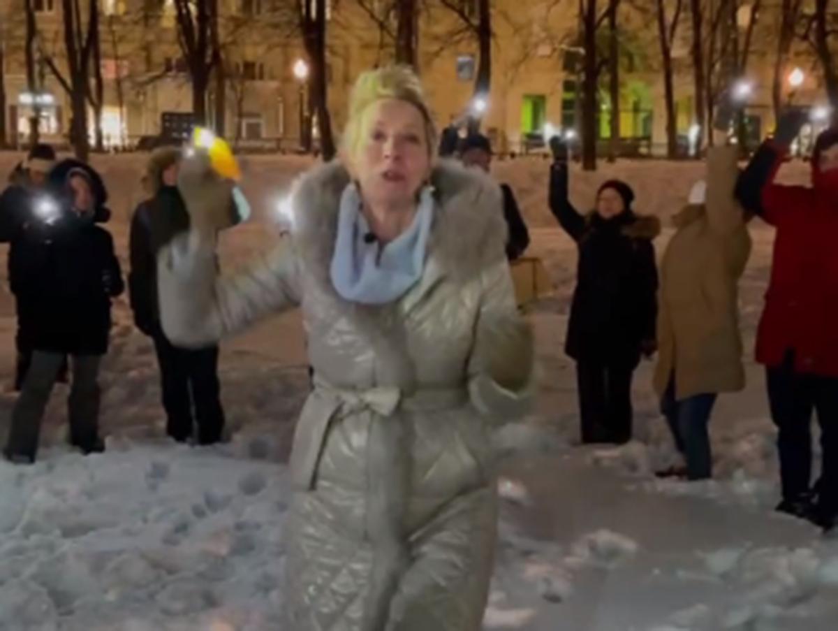 Татьяна Лазарева на акции в поддержку Навального