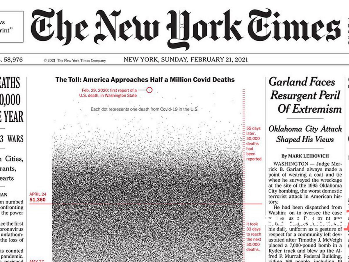 На первой полосе The New York Times изобразили 500 тысяч точек