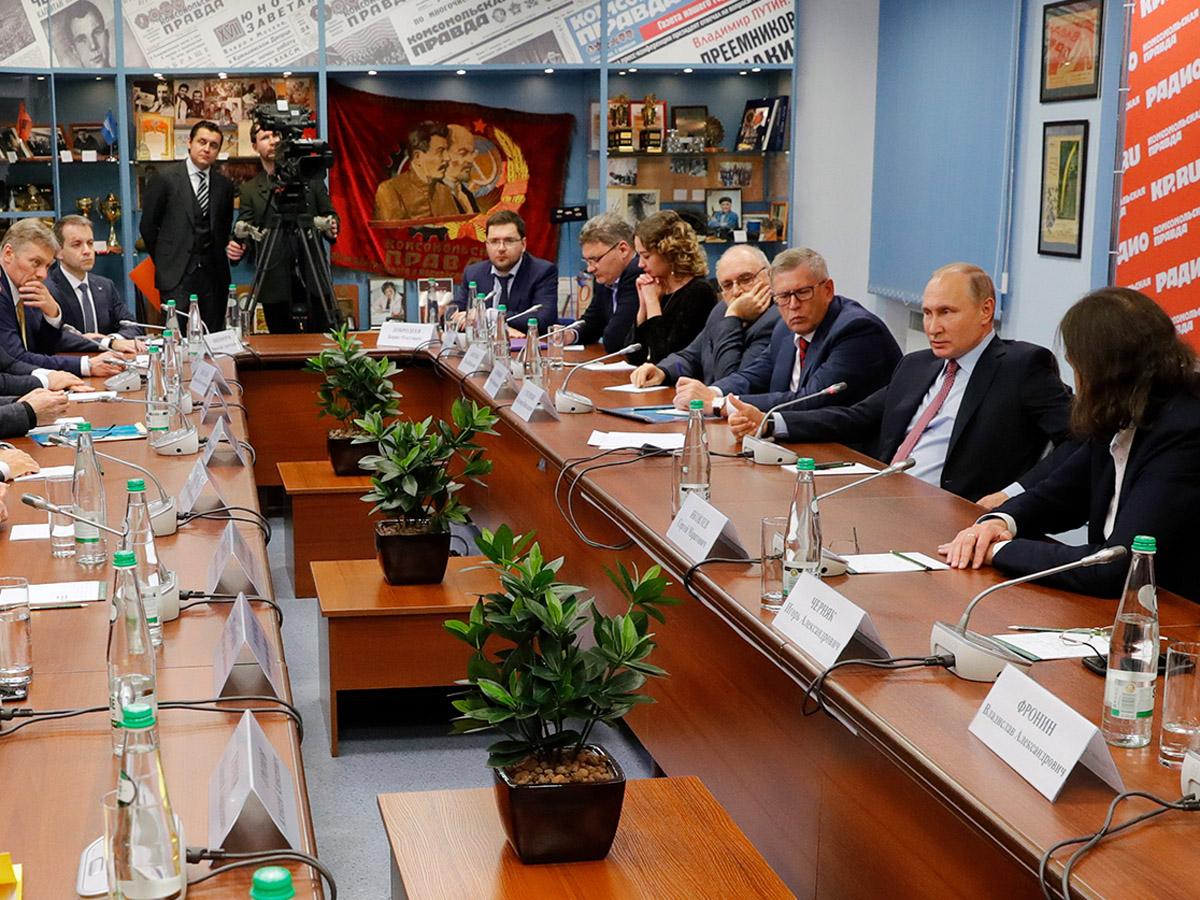 Названы темы закрытой встречи Владимира Путина и главных редакторов СМИ