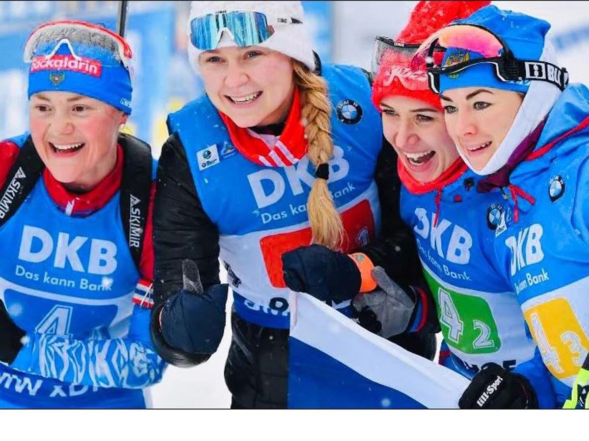 Женская сборная России с двумя штрафными кругами выиграла эстафету на 4-м этапе Кубка IBU