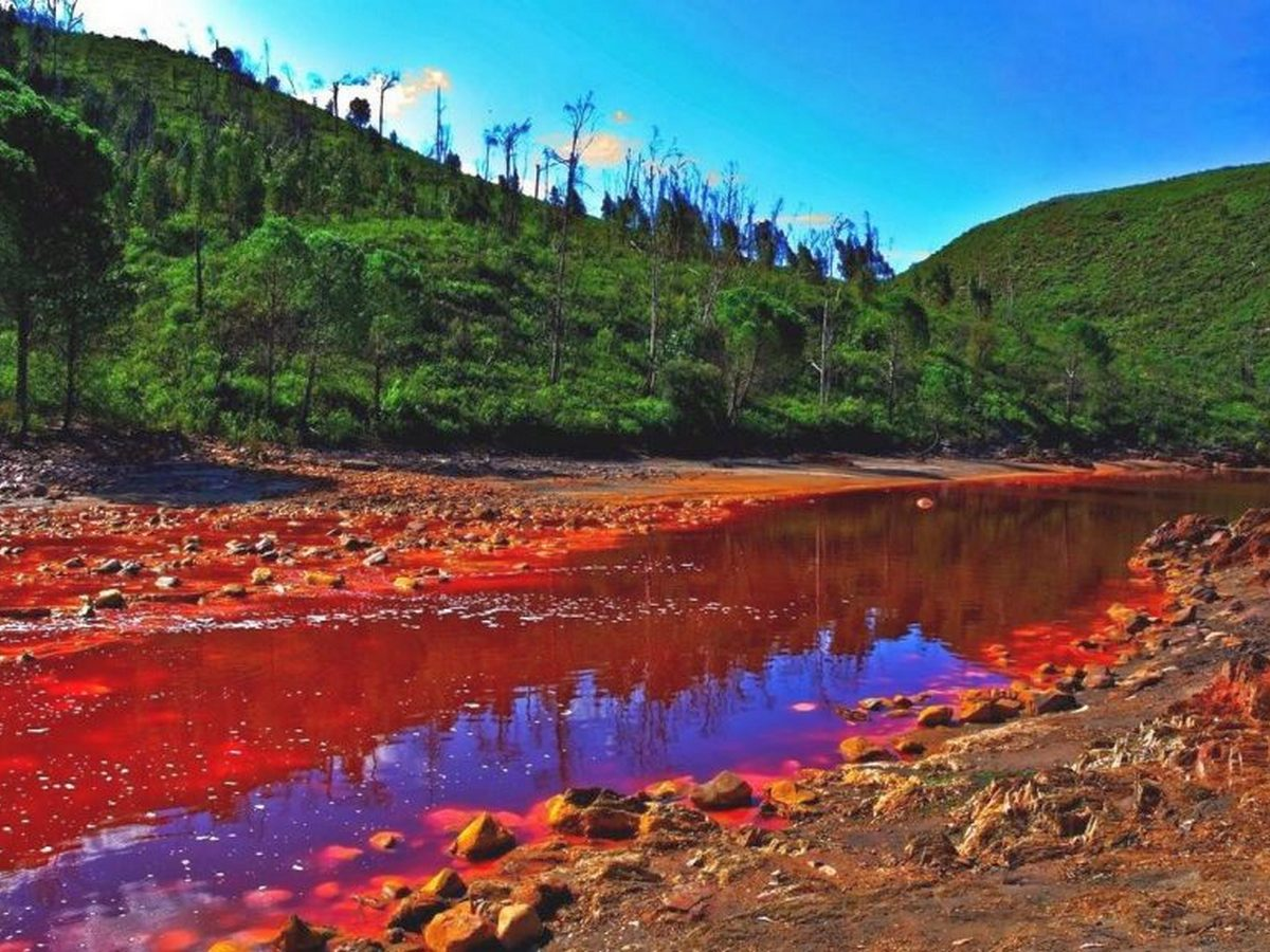 Село в Индонезии затопило водой пурпурного цвета
