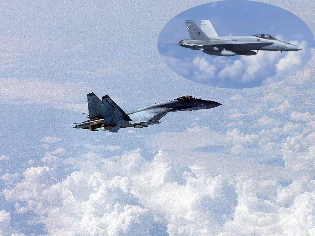 Су-35 ВКС РФ в Сирии устроил погоню за F-18, показательно имитировав его уничтожение